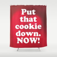 cookie monster Shower Curtains featuring cookie by MelleNora