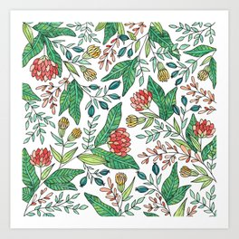 Wildflower Pattern - Full Color Art Print