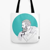 vikings Tote Bags featuring Ragnar Lothbrok / Vikings by Lucía Primo