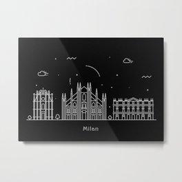 Milan Minimal Nightscape / Skyline Drawing Metal Print