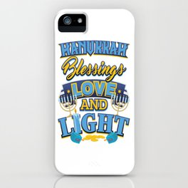 Hanukkah Blessings Love and Light iPhone Case