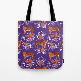 Tiger Clemson purple and orange florals university fan variety college football Tote Bag