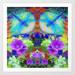 "BLUE ""ZINGER"" DRAGONFLIES  & PURPLE FLOWERS ART Art Print"