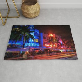 South Beach Miami Portrait in Colorful Time Lapse Paint by Jeanpaul Ferro Rug
