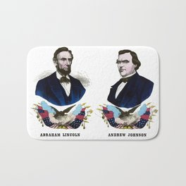 Lincoln And Johnson Campaign Poster Bath Mat