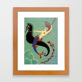 """Art Deco Illustration """"Water"""" Framed Art Print"""