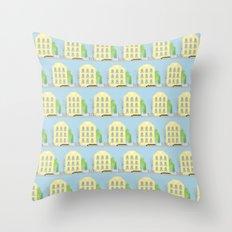 Yellow houses Throw Pillow