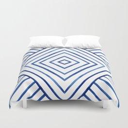 Watercolor lines pattern | Navy blue Duvet Cover