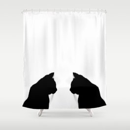 Black cat silhouette Shower Curtain