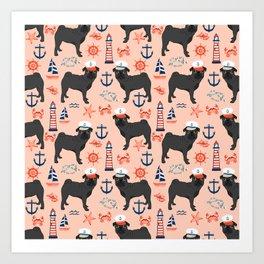 Pug nautical sailing pattern dog breed pet portrait pet friendly dog art Art Print