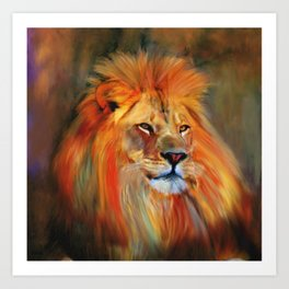 Aslan - Colorful Lion Art Print