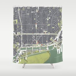Buenos aires city map engraving Shower Curtain
