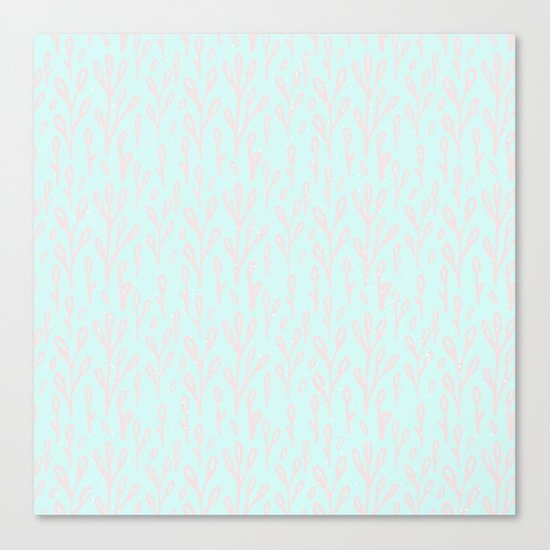 Merry christmas- abstract winter pattern with pink branch and snow Canvas Print