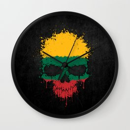 Flag of Lithuania on a Chaotic Splatter Skull Wall Clock