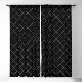 Night Watch Pewter Green Thin Line Stripe Grid (Pinstripe Pattern) on Black Blackout Curtain