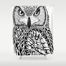 Flustered Owl Zentangle (abstract Shower Curtain