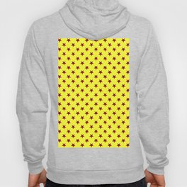 Burgundy Red on Electric Yellow Stars Hoody