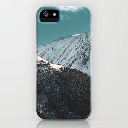 Snowy Mountains Under Teal Sky - Alaska iPhone Case