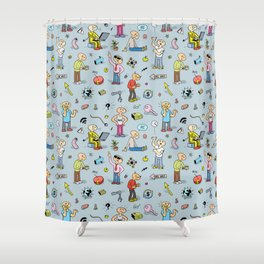 Colorful Seamless Pattern with Funny Doodle People and Items Shower Curtain