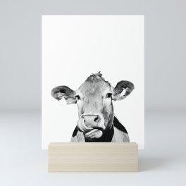 Cow photo - black and white Mini Art Print