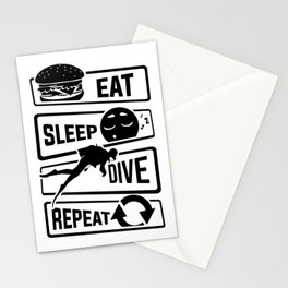 Eat Sleep Dive Repeat - Diving Reef Lake Diver Sea Stationery Cards
