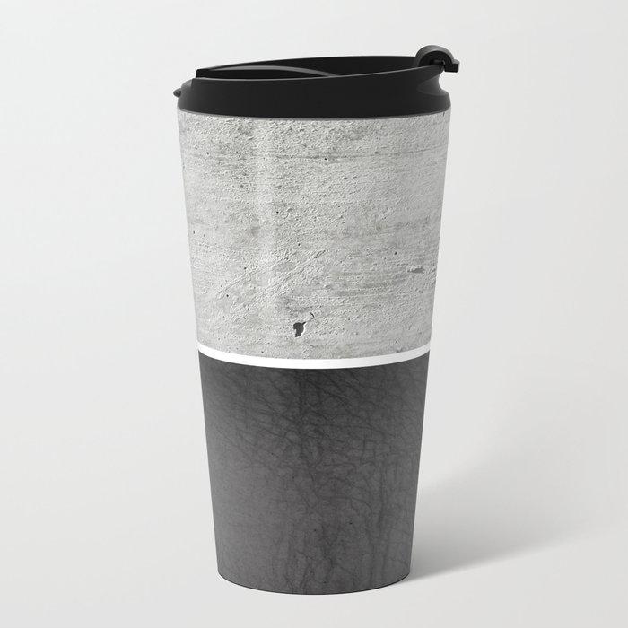 Raw Concrete and Black Leather Metal Travel Mug