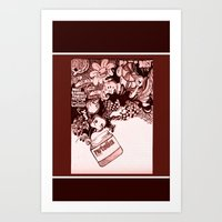 nutella Art Prints featuring nutella  by Kim Rose