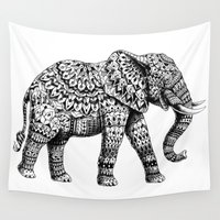 ganesh Wall Tapestries featuring Ornate Elephant 3.0 by BIOWORKZ
