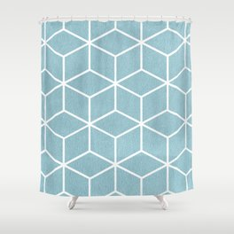 Light Blue and White - Geometric Textured Cube Design Shower Curtain