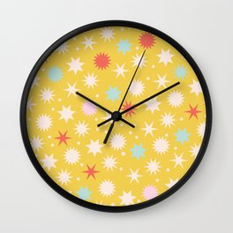 Vintage Christmas Wrapping Paper Pattern Design Mustard Stars & Dots Wall Clock