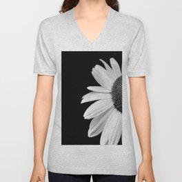 Half Daisy in Black and White Unisex V-Neck