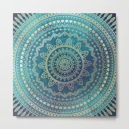 Mandala Meditation Green Metal Print