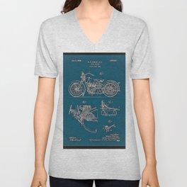 1902 Motorcycle Blueprint Patent in blue Unisex V-Neck