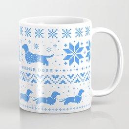 Love Joy Peace Wiener Dogs Blue Pattern Coffee Mug