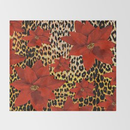 Animal Print Leopard and Red Poinsettia Throw Blanket