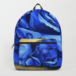 Blue Rose Graffiti, realism, gold, flower, dia de los muertos Backpack