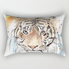 """Watercolor Painting of Picture """"Portrait of a Tiger"""" Rectangular Pillow"""
