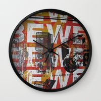 cameras Wall Clocks featuring Cameras by Print Mafia