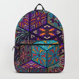 Vintage patchwork with floral mandala elements Backpack