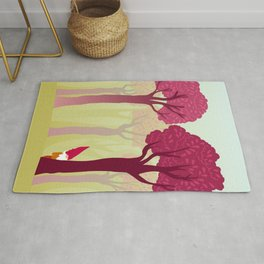 colorful forest with cute dwarf Rug