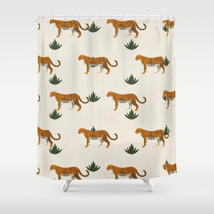 Big Cat Pattern Shower Curtain