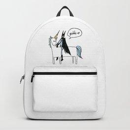 Big Man on a Unicorn Backpack