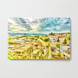 Obidos, small and authentic fortified town in Portugal Metal Print