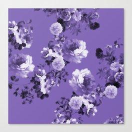 Modern trendy floral ultra violet purple pattern Canvas Print