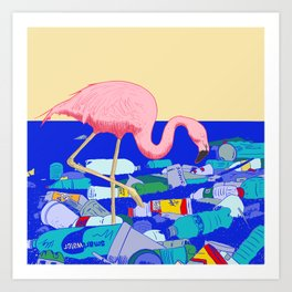 A Flamingo Searches for Dinner Art Print
