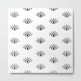 Black Evil Eye Pattern Metal Print