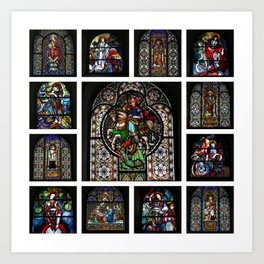 Stained Glass Windows Collage Art Print