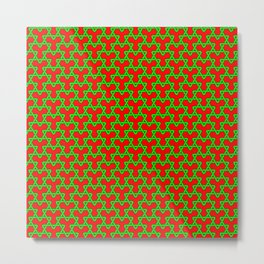 Christmas Triangles - Green on Red Metal Print
