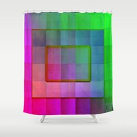 aperture Shower Curtains featuring Aperture #1 Fractal Pleat Texture Colorful Design by CAP Artwork & Design
