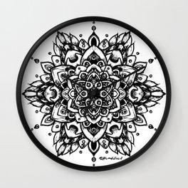 Grunge Feathered Mandala A - Black Wall Clock